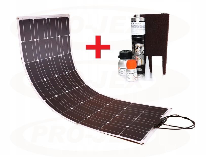 Panel solarny słoneczny 100W elastyczny 9x4 12V MONOKRYSTALICZNY + ZESTAW DO KLEJENIA SIKA